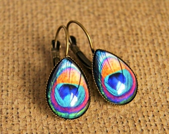 peacock drop earrings, colorful jewelry, boho jewelry, photo earrings, bohochic, festival jewelry, gift for her