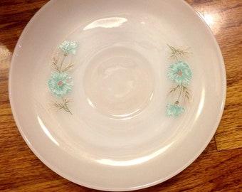 "Vintage Fire King saucer with blue flower ""bonnie blue"" ovenware"