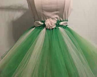 Girls Green & White 2 Layer Tutu