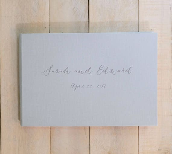 Personalized Linen Wedding Guest Book