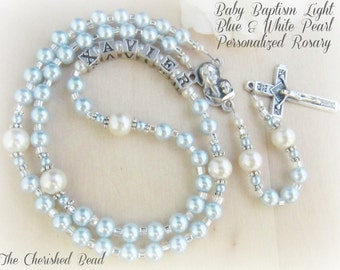 Baby Boy Baptism Light Blue & White Pearl Personalized Rosary