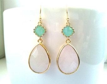 Blush Pink Earrings, Mint and rose quartz Wedding Jewelry Bridal Bridesmaid Earrings Dangle Earrings drop Earrings Gift , Opal earrings