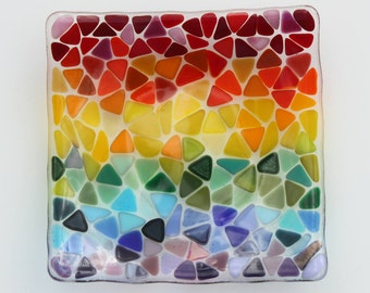"Rainbow fused glass bowl, 6"" square glass dish for keys, trinkets or just to add colour to your room!"