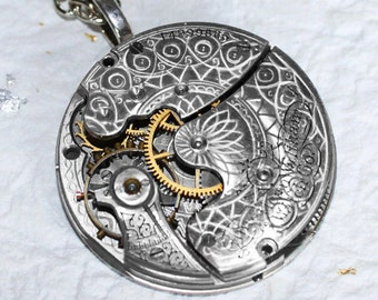 Steampunk Necklace: Spectacular 127 Yrs Old Antique Pocket Watch Movement Silver GUILLOCHE ETCHED Men Steampunk Necklace Wedding Gift