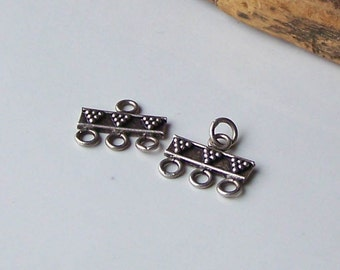 Etsy Supplies, Jewelry Supplies, Triple Strand Connector, Sterling Silver Connector, Tribal Connectors, Etsy, Etsy Jewelry