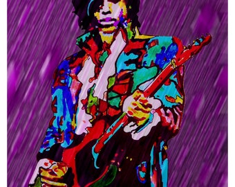 "Prince, The Revolution, Purple Rain, Lead Guitar Player, Guitarist, Music, 18"" x 24"" POSTER from Original Drawing"
