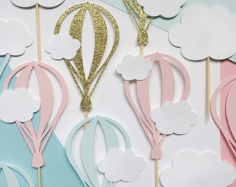 Hot Air Balloon Cupcake Topper | Cloud Dessert Picks | Up Up and Away Party Decorations | Oh The Places You'll Go Theme Baby Shower
