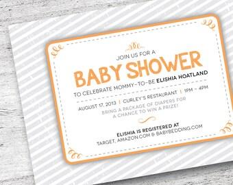 Printable Baby Shower Invitation   Customize Baby Shower Invite   Stripe Invitation   Baby Invitation  Baby Shower   DIY