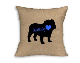 "Blue Bulldog Pillow Cover, Pillow Cover, Bulldog Pillow Cover, 18"" x 18"" Zip Pillow Cover"