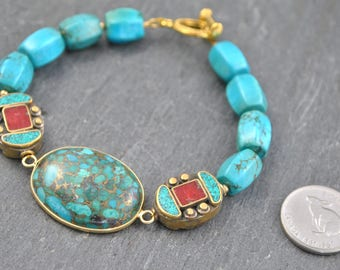 Turquoise in Copper Connector Bead & Nepalese Beads Artisan Bracelet