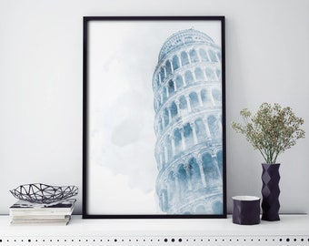 Leaning Tower of Pisa, Italy Watercolour Print Wall Art | 4x6 5x7 A4 A3 A2