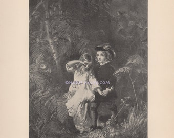 Lost Children In Woods-Starve To Death-Innocence-1890 Antique Vintage Art PRINT-Fairy Tale-Brother & Sister-Siblings Die Together-Picture