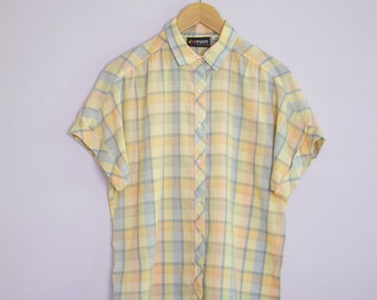 Vintage 1980's Yellow + Peach + Blue Plaid camp Shirt L/XL