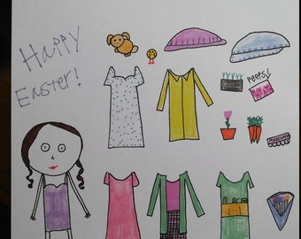 Happy Easter Paperdoll- doll with dresses, rain gear, and accessories.