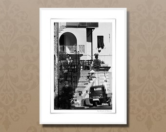 Fine art photography, 30x40 cm black and white art print, italian street cafe, italy framed wall art, italy lifestyle, italian home decor