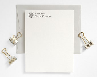 Custom Letterpress Stationery Set - Flat Notes - Classic Meets Modern - Pale Gray Folio