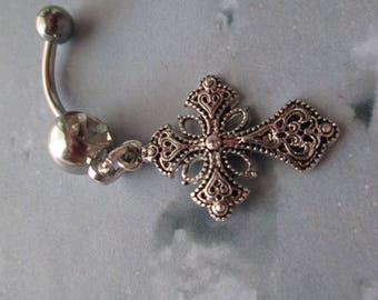 belly ring fancy cross