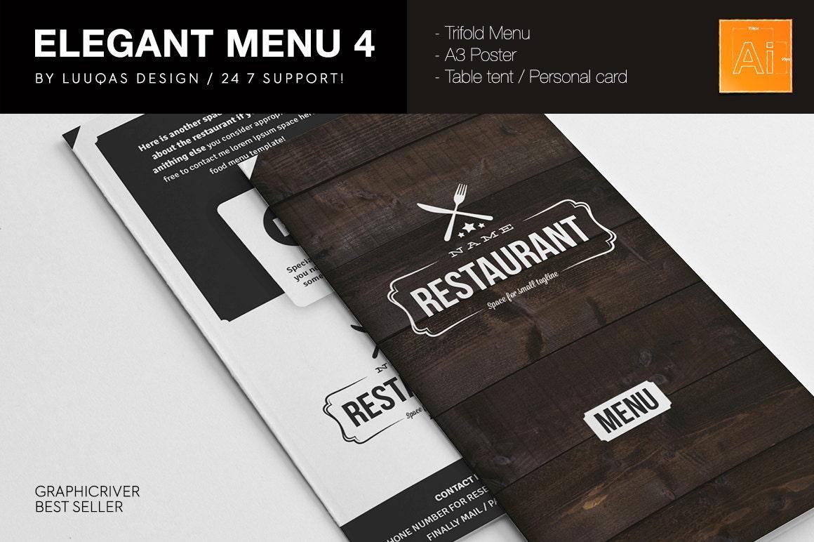 Elegant Food Menu 4 Illustrator Template