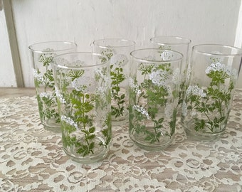 SummerTime Set of 6 Vintage Libby's Queen Anne Lace Glass Tumblers/M Dia