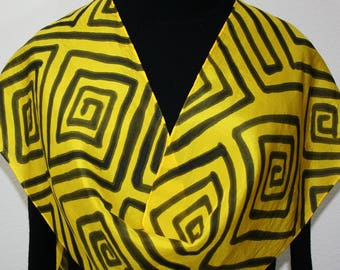 Silk Scarf Hand Painted Bright Colors Handmade Silk Scarf COLORED LABYRINTH, in Several SIZES and Colors. Birthday Gift, Mother Gift