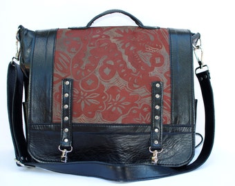 """Leather Backpack, Messenger Bag , convertible, large, black,Chinese Dragon Print, """"The Luck Dragon"""""""