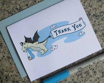 dragon stork fairy tale baby shower thank you cards for boy (blank or custom printed inside) with pastel blue envelopes - set of 10