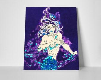 Mermaid Art Print, Mermaid Print, Mermaid Wall Art, Mermaid Decor, Mermaid, Mermaid Canvas, Mermaid Canvas Art, Art on Canvas, Art Prints