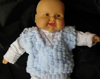 Babies Pale Blue Snowball Waistcoat / Tanktop for Boy or Girl. Brand New, Handmade, Hand Knitted