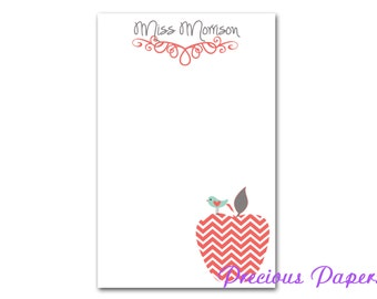 Personalized Teacher note pads Personalized teacher gift Personalized teacher coral chevron apple notepad apple note pad