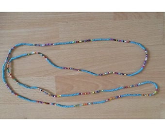 """Long turquoise and multi coloured seedbead necklace 58"""" long boho hippie festival beach love"""