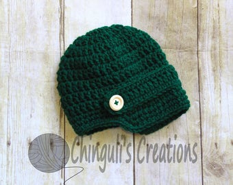 St. Patrick's Day Crochet Newsboy Hat Boys or Girls Green Crochet Beanie Hat with  Wooden Buttons