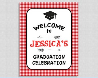 EDITABLE Graduation Welcome Sign, Personalized NAME Welcome Sign, Red BBQ Grad Party Template, Instant Printable