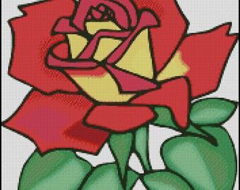 Gráfico PDF Punto de Cruz, Rosa 1, Esquema Punto de Cruz Descargable