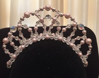Ballet tiara with 3 large crystals and pink pearls. I can make it it lots of different colour combinations!