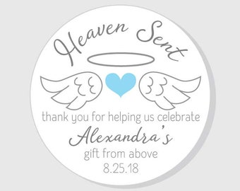 Heaven Sent baby shower stickers - pink girl - blue boy - gender neutral - angel wing - 1.5 - 2 - 2.5 - 3 inch - favors - gift bags