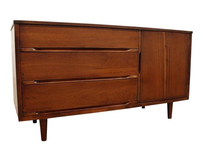 Mid-Century Danish Modern Low Walnut Credenza/Dresser