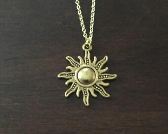 Sun Necklace, Sun, Gold Sun Necklace, Sun Jewelry, Sun Pendant, Gold Sun Jewelry, Gold Sun, Gold Sun Pendant, Necklace, Gold Necklace