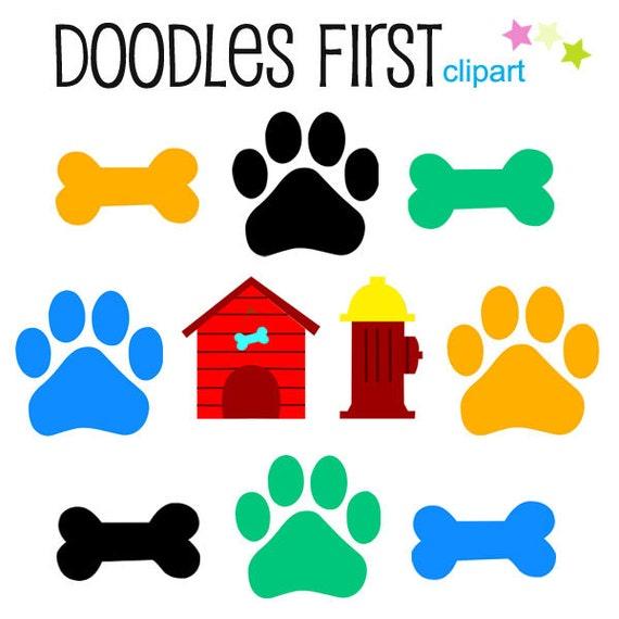 dog bones and paws digital clip art for scrapbooking card rh etsy com dog bone clip art no background dog bones clipart