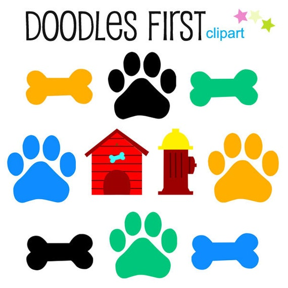 Dog Bones and Paws Digital Clip Art for Scrapbooking Card