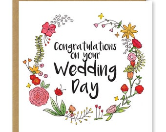 Wedding card | Congratulations on your wedding day | Newly-weds  | Congrats to bride and groom | Greetings card