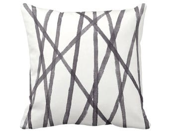 """Hand Painted Lines Throw Pillow, Charcoal & White 16, 18, 20 or 26"""" Sq OUTDOOR or INDOOR Pillows/Covers, Print, Channels/Stripes Black"""