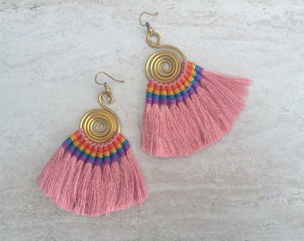 Mink Silk Tassel Fan Earrings, Handmade BOHO Earrings, Blush Pink Earrings, Fashion Earrings, Everyday Earrings, Holiday Earrings,