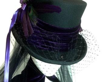 Gothic Steampunk purple and black wedding hat