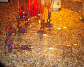 8 HAND PAINTED Champagne Flutes