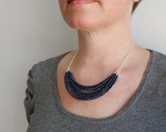 Small statement necklace blue bib necklace multi stranded necklace layered seed bead necklace for women