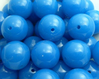 20mm Azure Blue Chunky Bubblegum Beads - 10pcs - Candy Color Gumball Beads, Chunky Beads, Round Acrylic Beads - BR1-3
