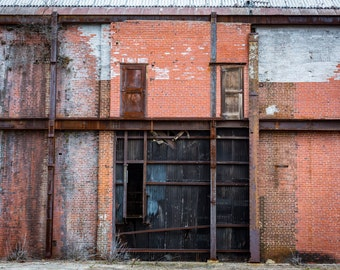 Two Doors Steel Beam and Brick Industrial Warehouse Wall Art Photography Print