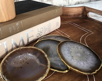 One-of-a-Kind Natural Stone Agate Drink Coaster with Rubber Bumpers, Set of 4, Gold