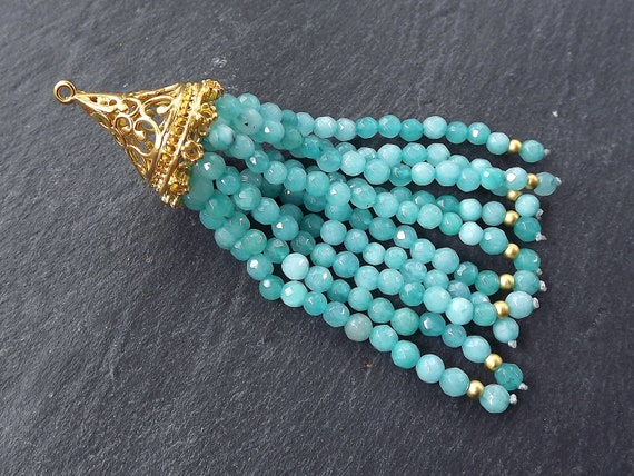 Long Aqua Tassel, Aqua Beaded Tassel, Jade Stone, Gemstone Tassel, Tassel Pendant, Filigree, Facet Cut Stone 22k Matte Gold Plated 1pc by Etsy