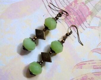 Mint Green and Brass Earrings (2951)